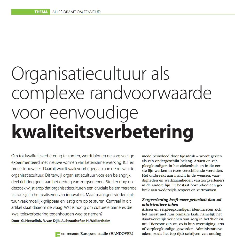 Organisatiecultuur als complexe randvoorwaarde voor een eenvoudige kwaliteitsverbetering